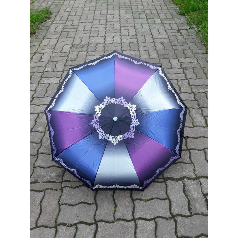 Интересний комбинированный зонт с атласным куполом фото 1