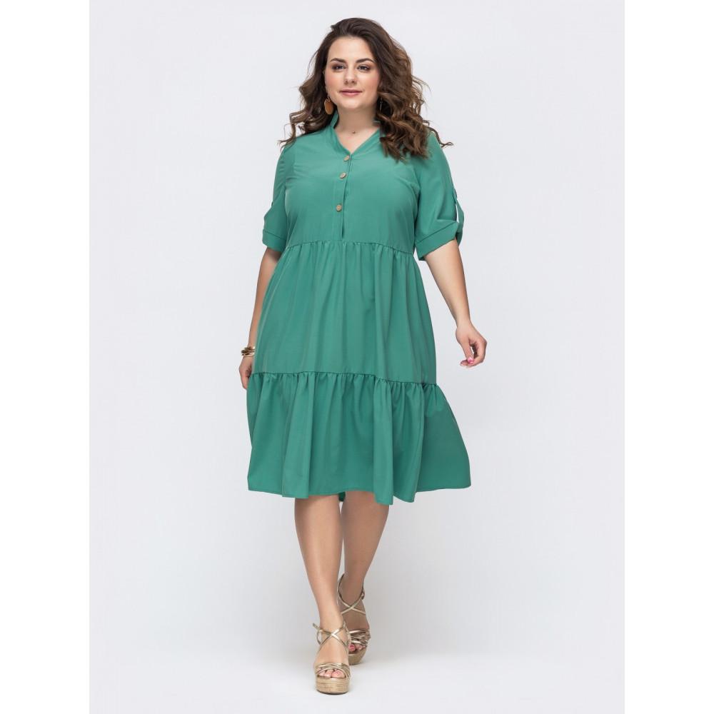 Зеленое платье расклешенного кроя Марианна фото 1
