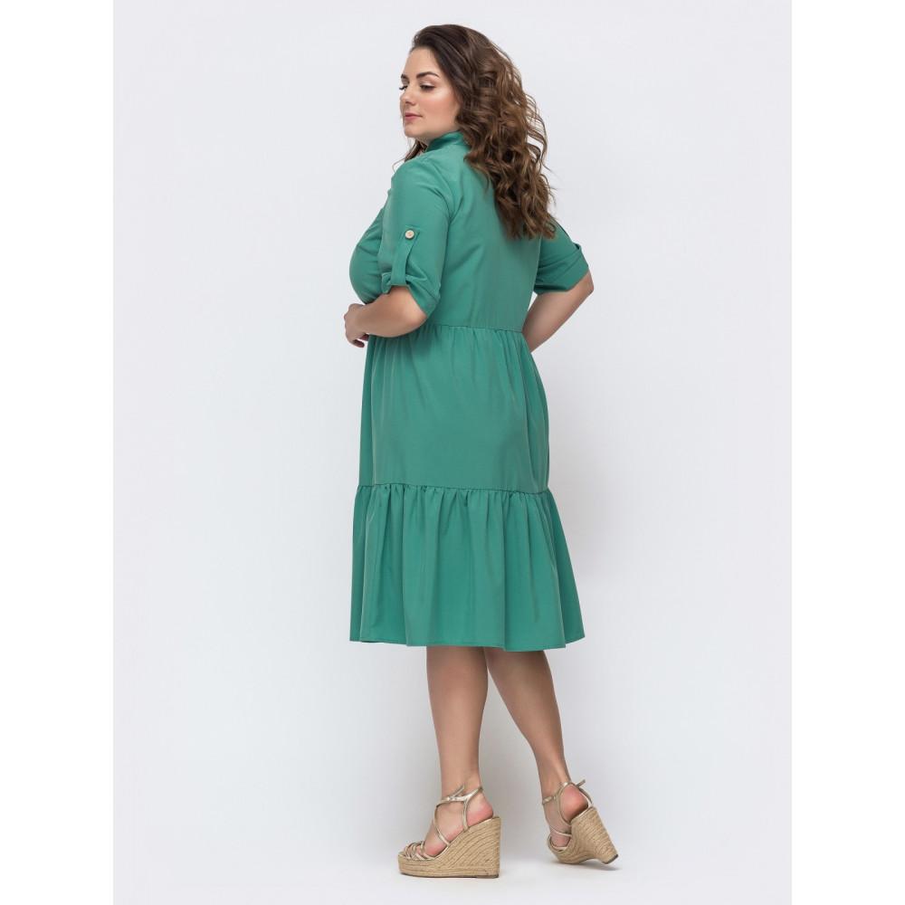 Зеленое платье расклешенного кроя Марианна фото 2