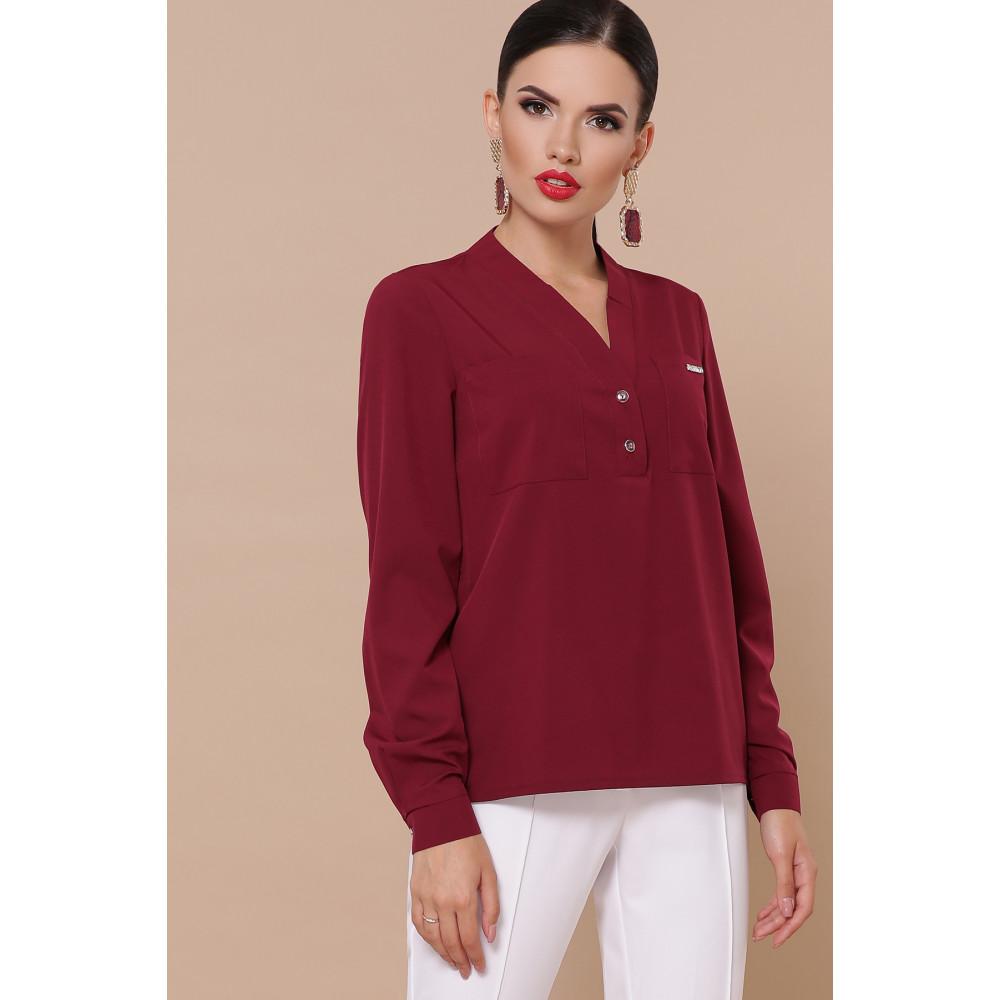 Лаконичная блузка с V-вырезом Жанна фото 1