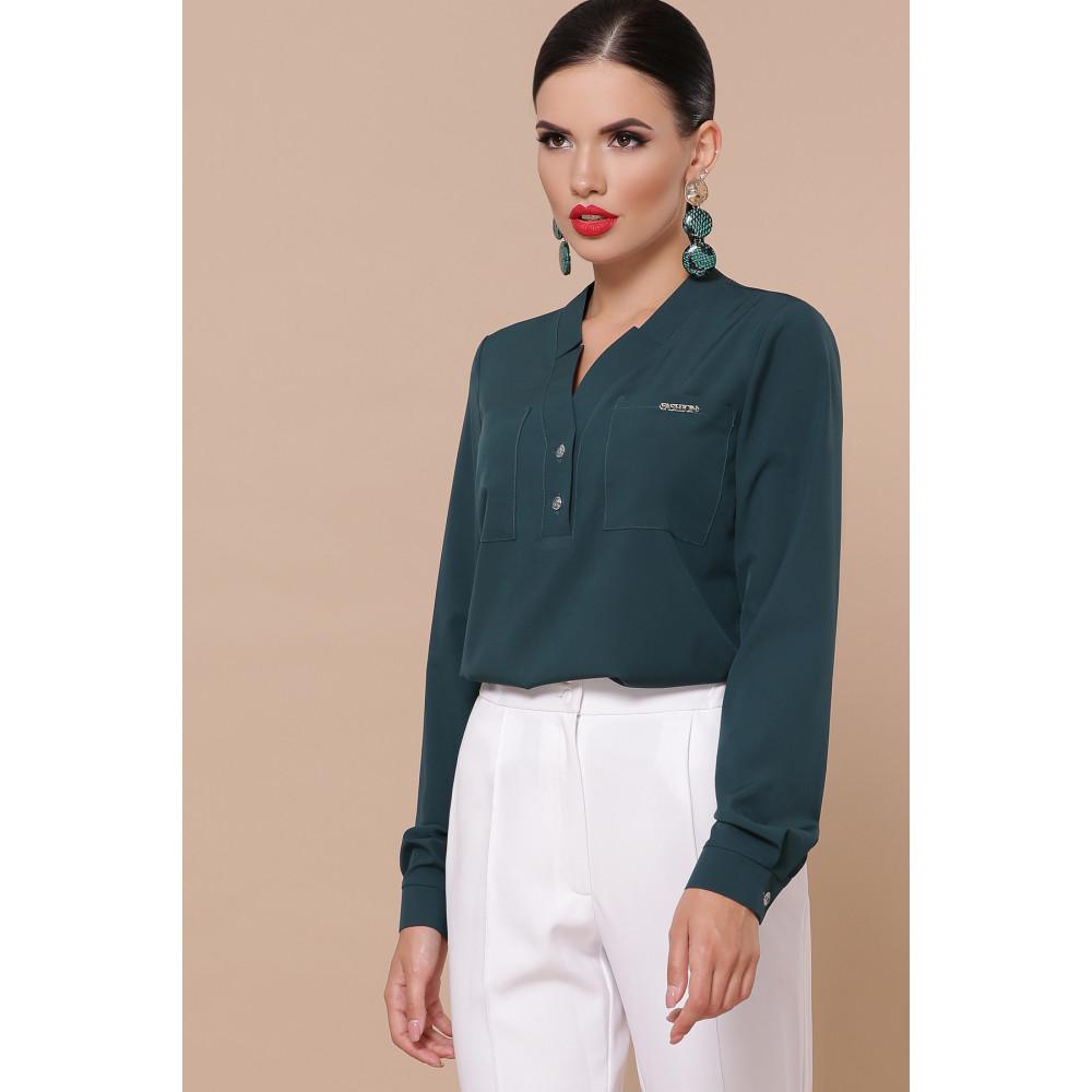 Зеленая блузка с V-вырезом Жанна фото 1