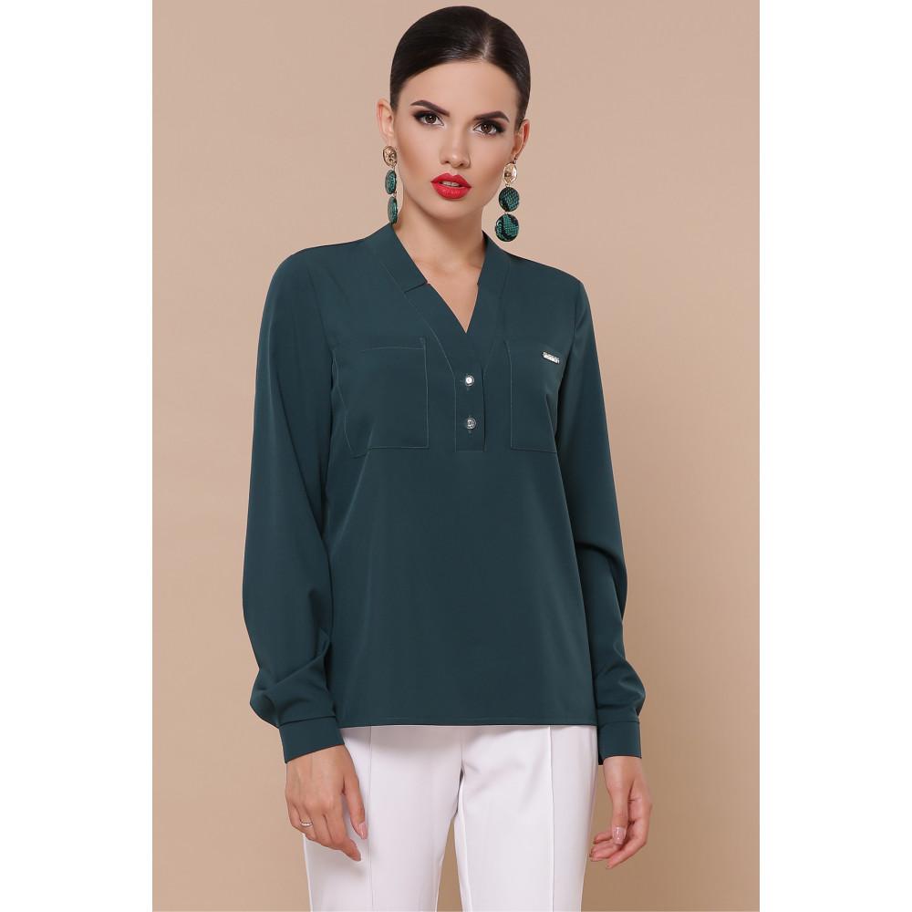 Зеленая блузка с V-вырезом Жанна фото 2