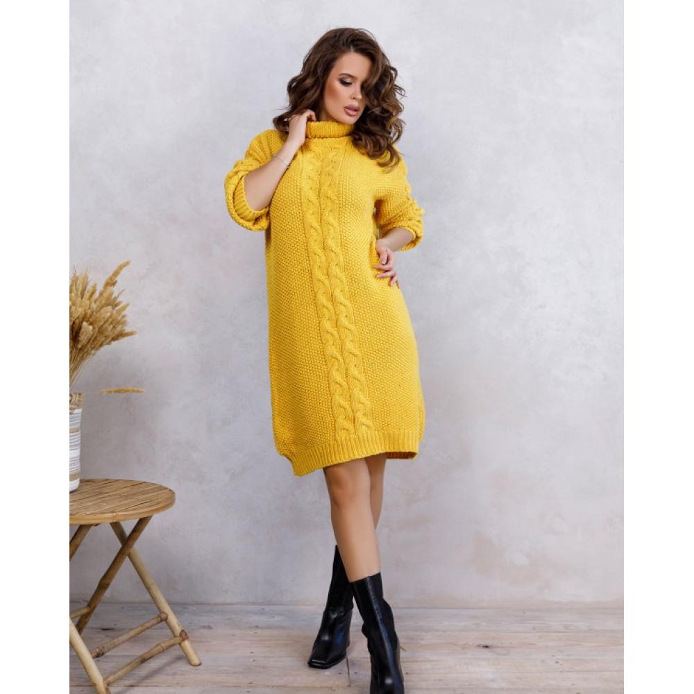 Желтое платье Урсула с высокой горловиной фото 1