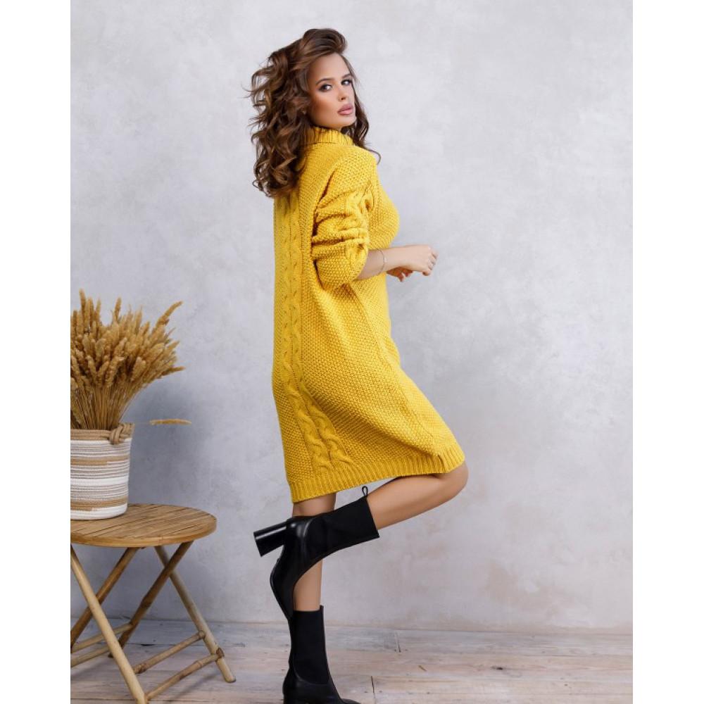 Желтое платье Урсула с высокой горловиной фото 2