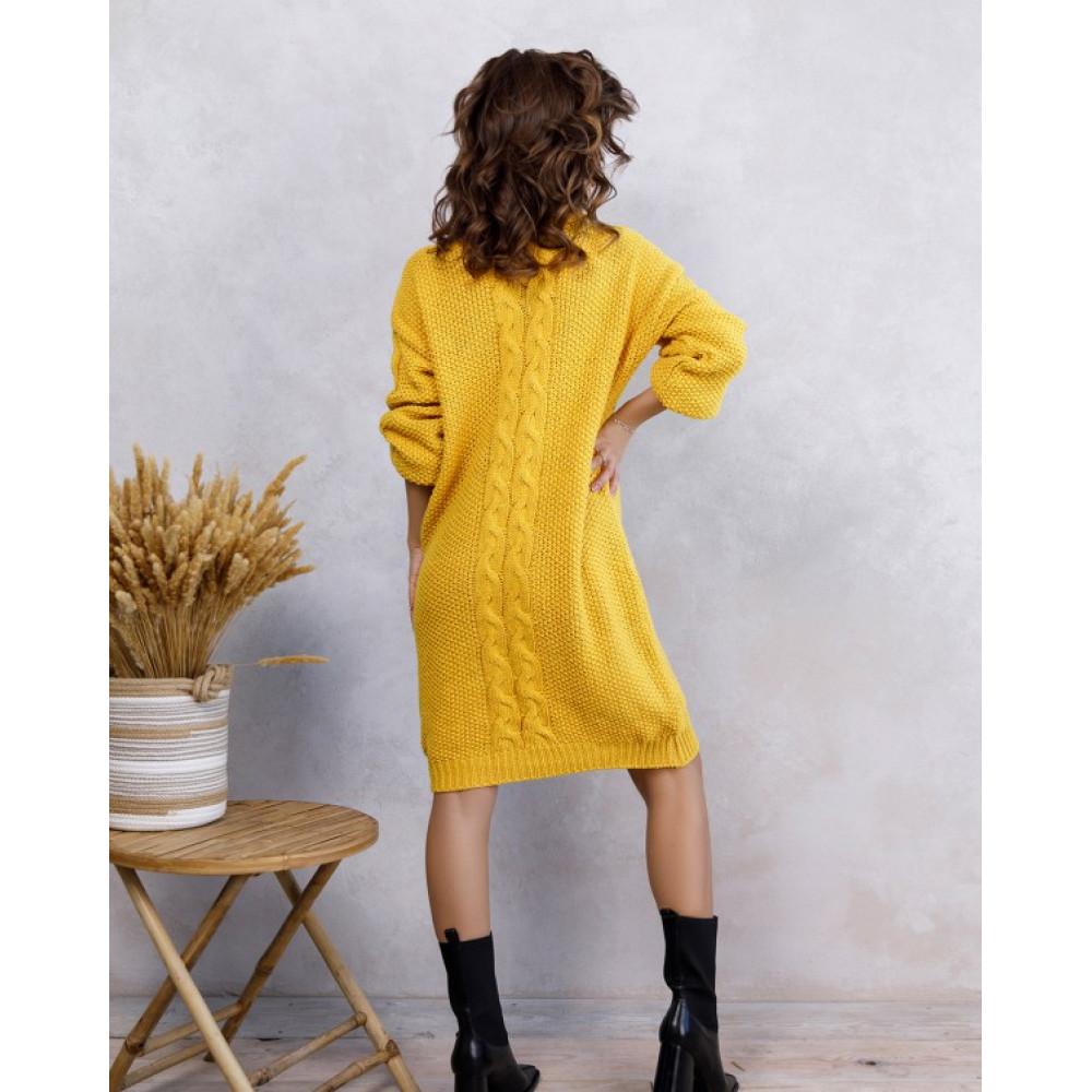 Желтое платье Урсула с высокой горловиной фото 3