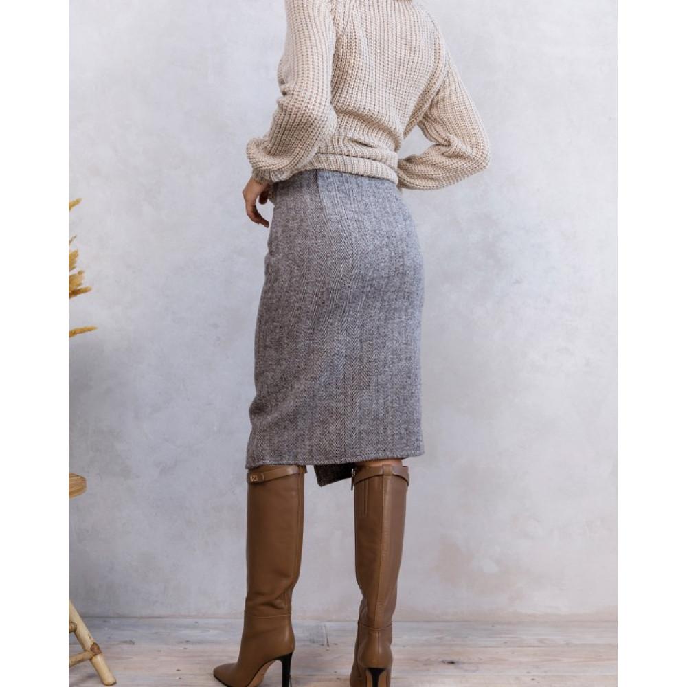 Асимметричная коричневая юбка фото 2
