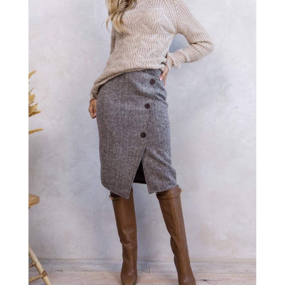 Асимметричная коричневая юбка фото 4
