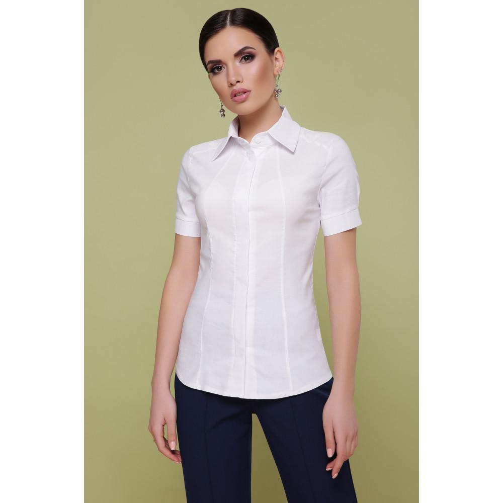 Классическая белая рубашка с коротким рукавом Норма фото 3