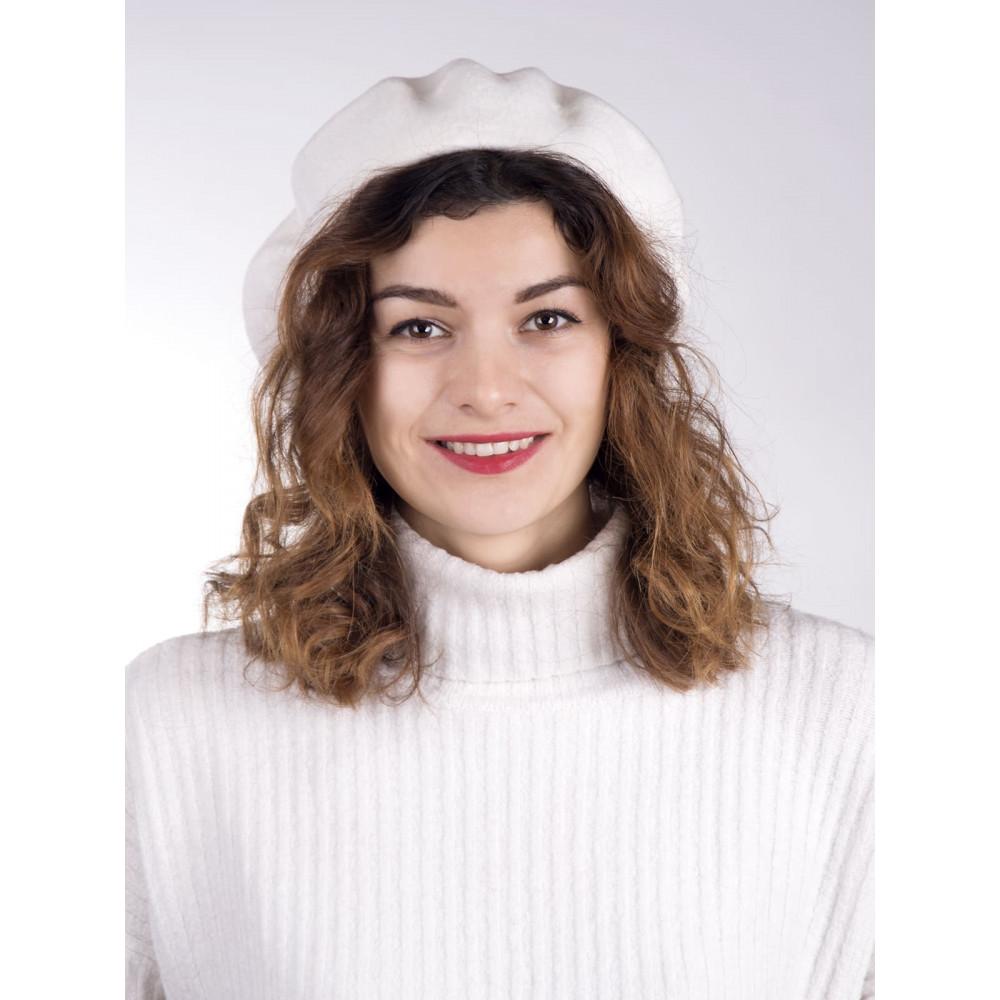 Белый шерстяной берет Флора-000 фото 3