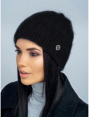 Черая ангоровая шапка Яшма