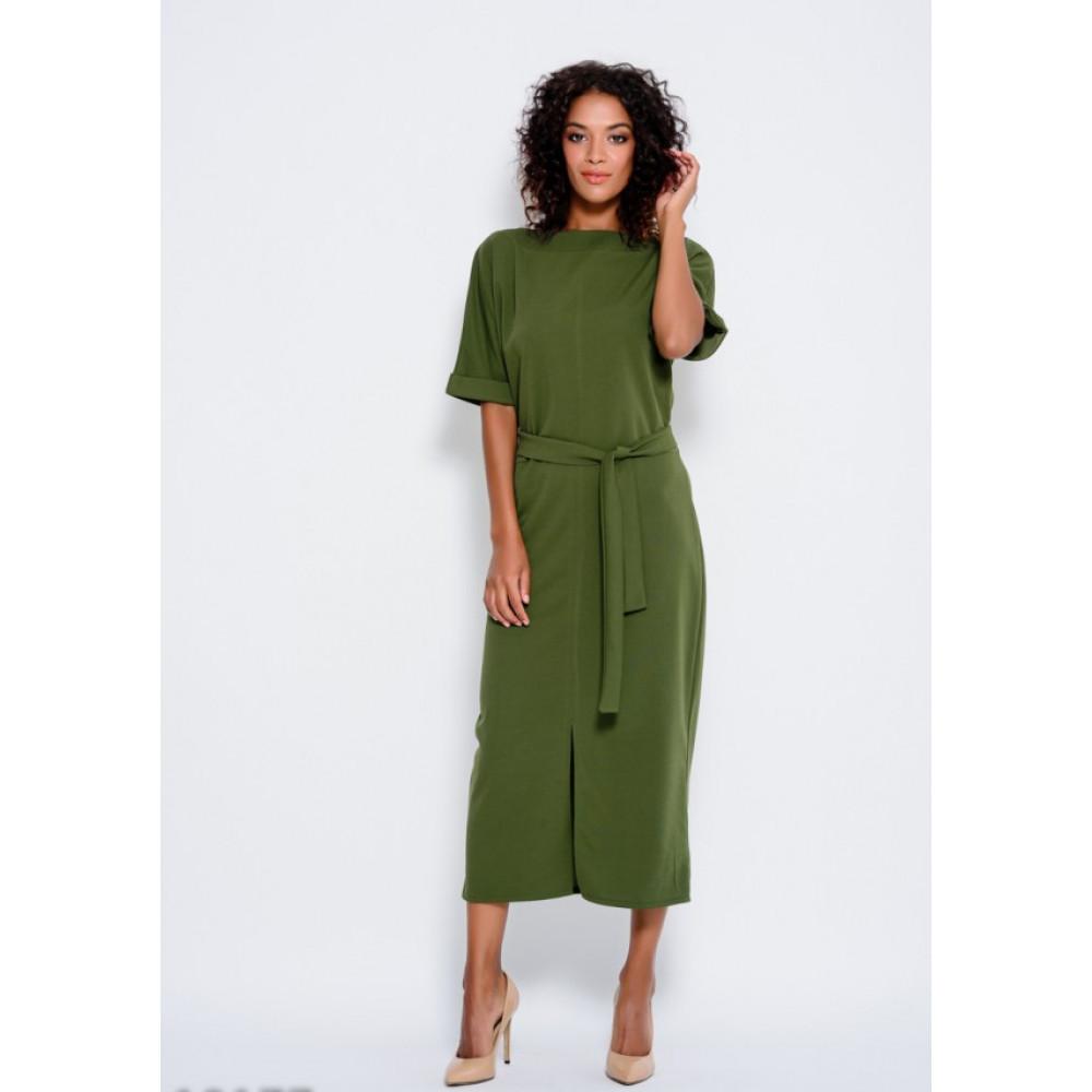 Зеленое платье с разрезом спереди Рут фото 1