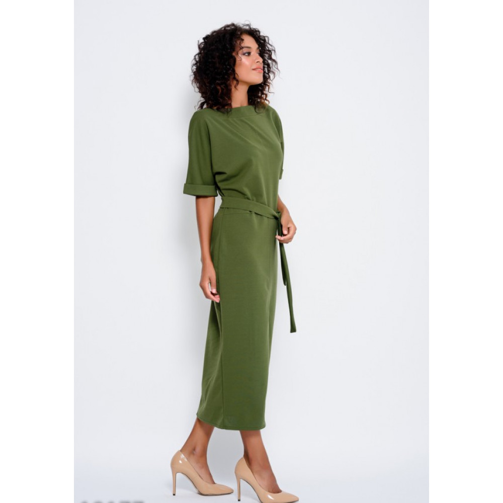 Зеленое платье с разрезом спереди Рут фото 2