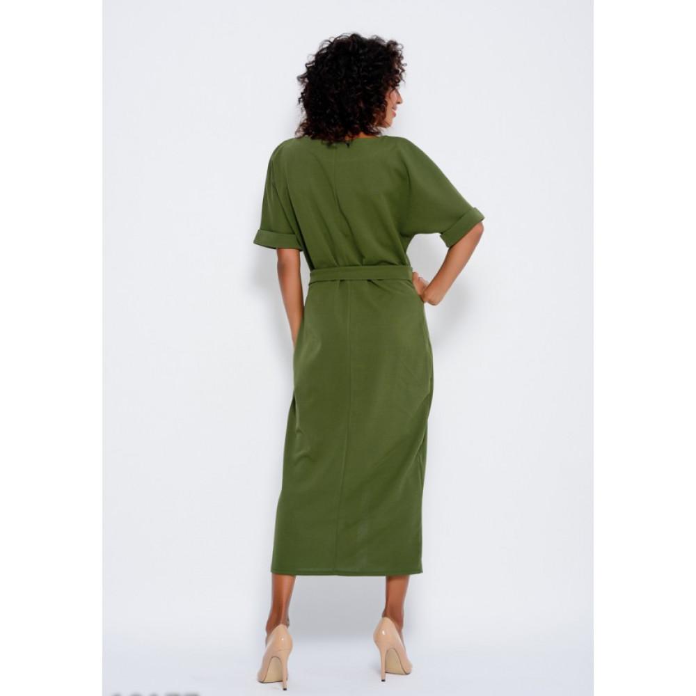 Зеленое платье с разрезом спереди Рут фото 3