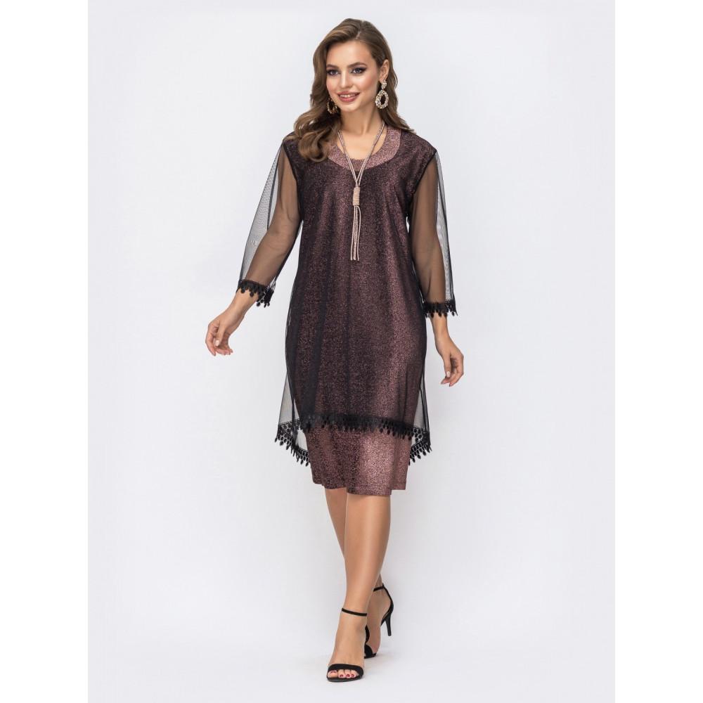 Женственное приталенное платье с фатиновой сеткой фото 1