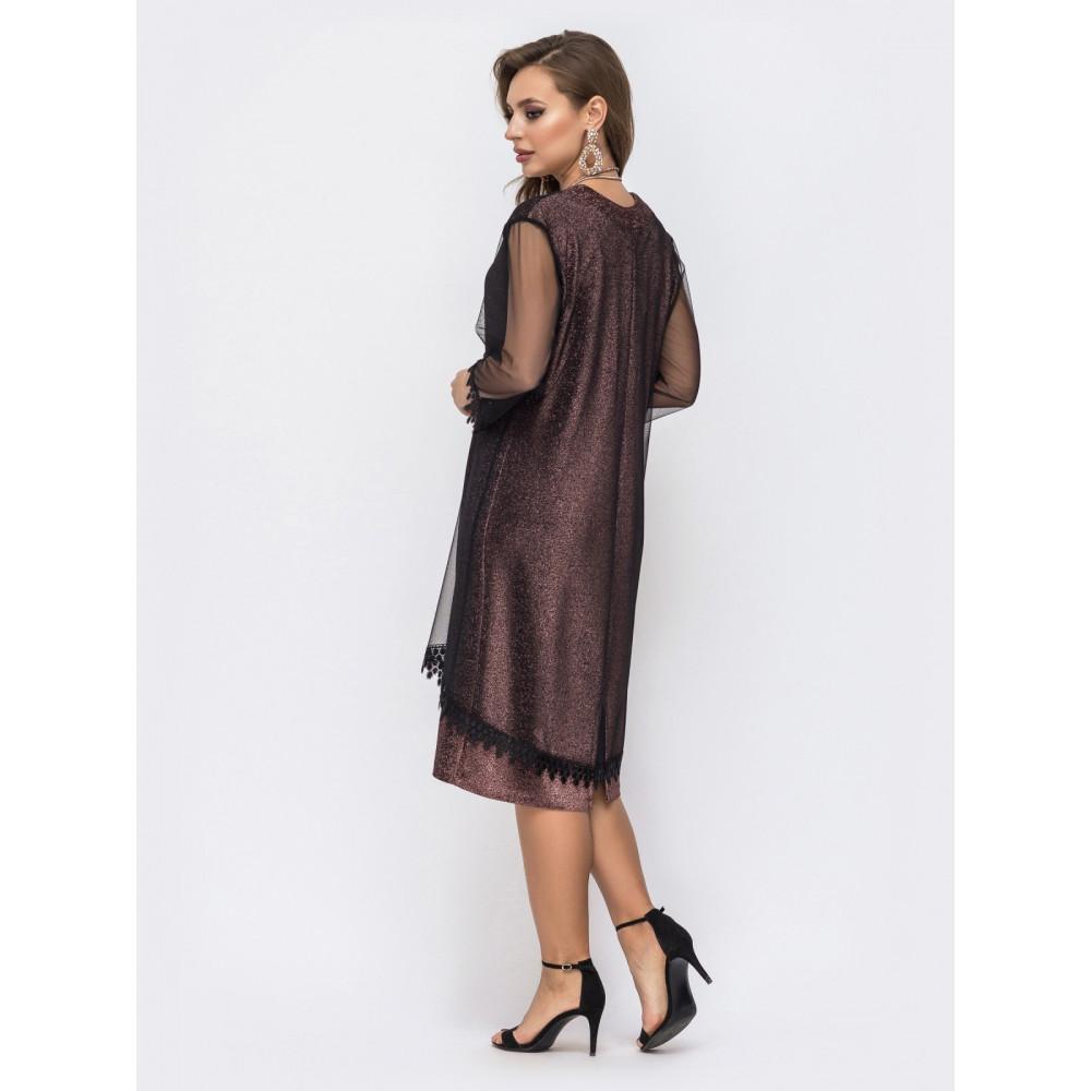 Женственное приталенное платье с фатиновой сеткой фото 2