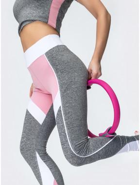 Стильные серо-розовые лосины для спорта