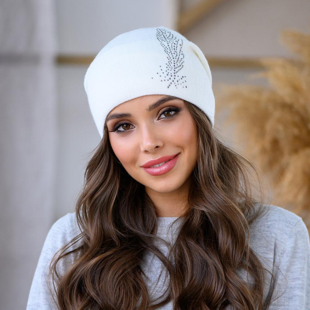 Белая шапка Шейла со стразами фото 1