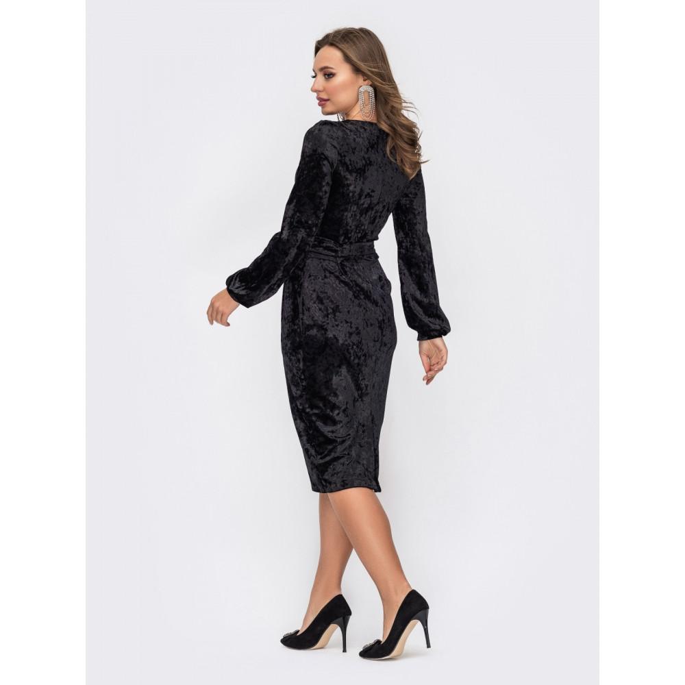 Классическое черное платье из бархата фото 2