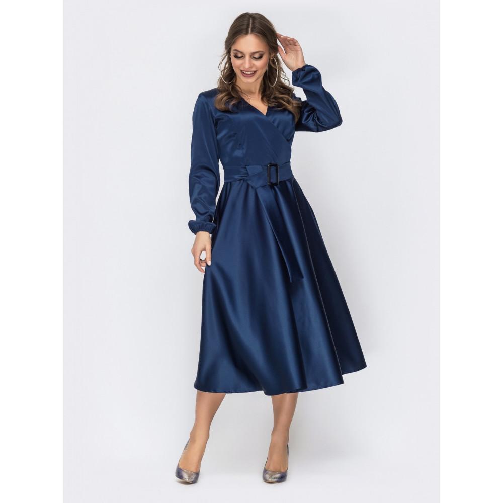 Атласное платье-клеш королевского цвета фото 1