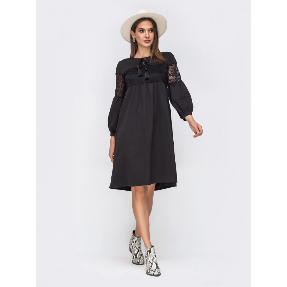 Красивое черное платье с ажурными вставками фото 2