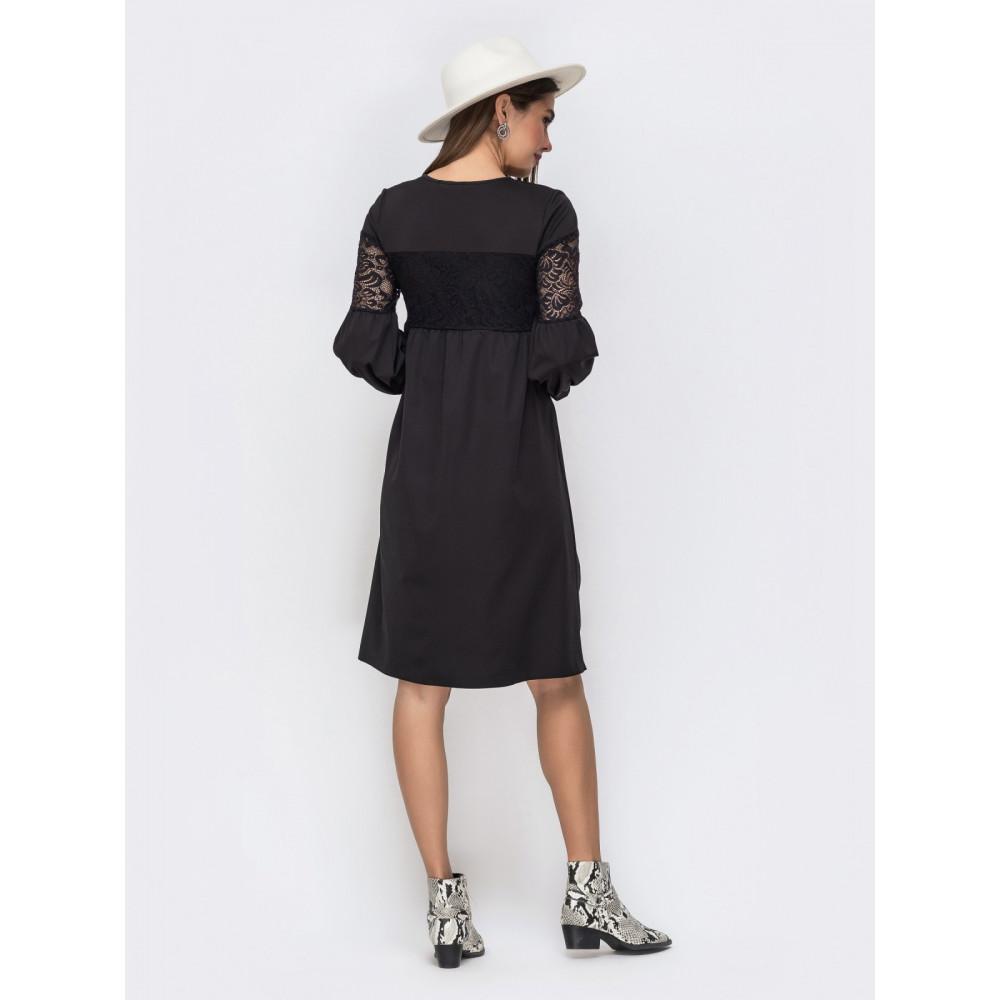 Красивое черное платье с ажурными вставками фото 3