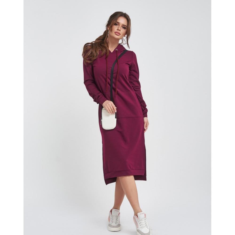 Бордовое платье с карманом-кенгуру фото 1