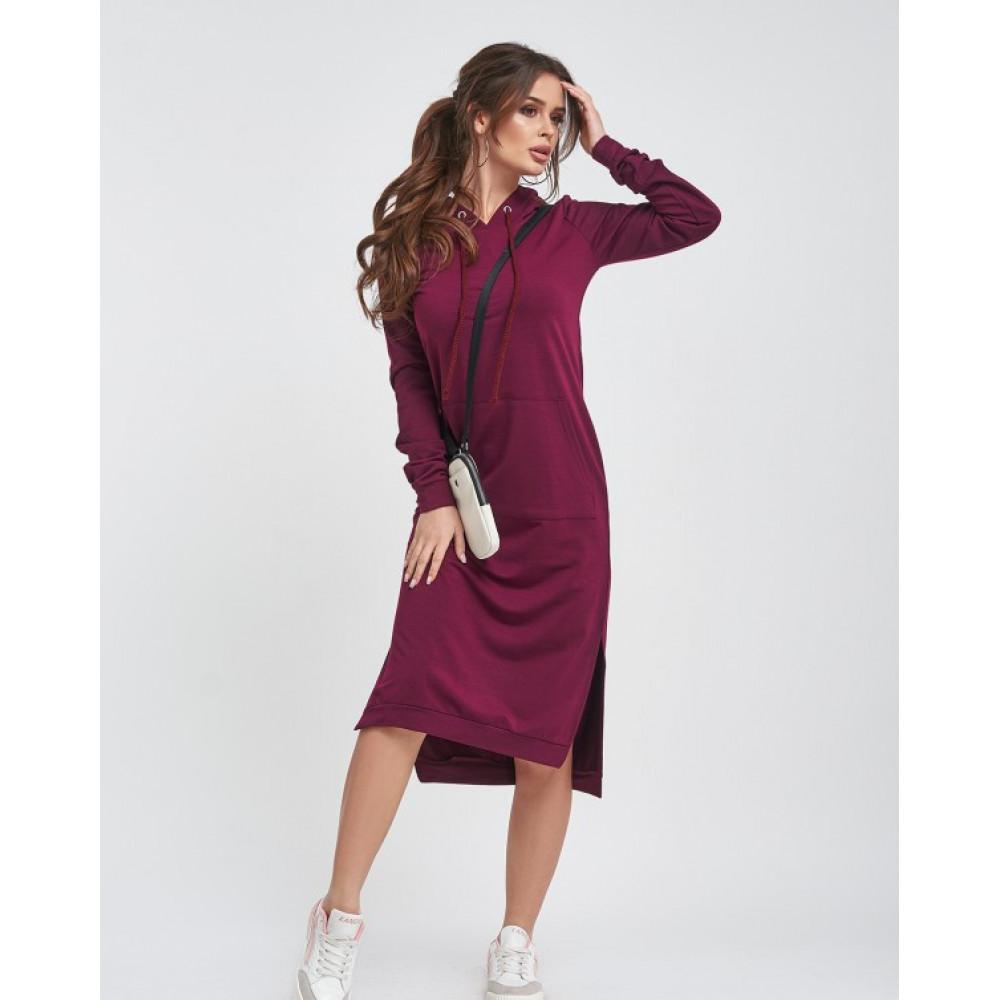 Бордовое платье с карманом-кенгуру фото 2
