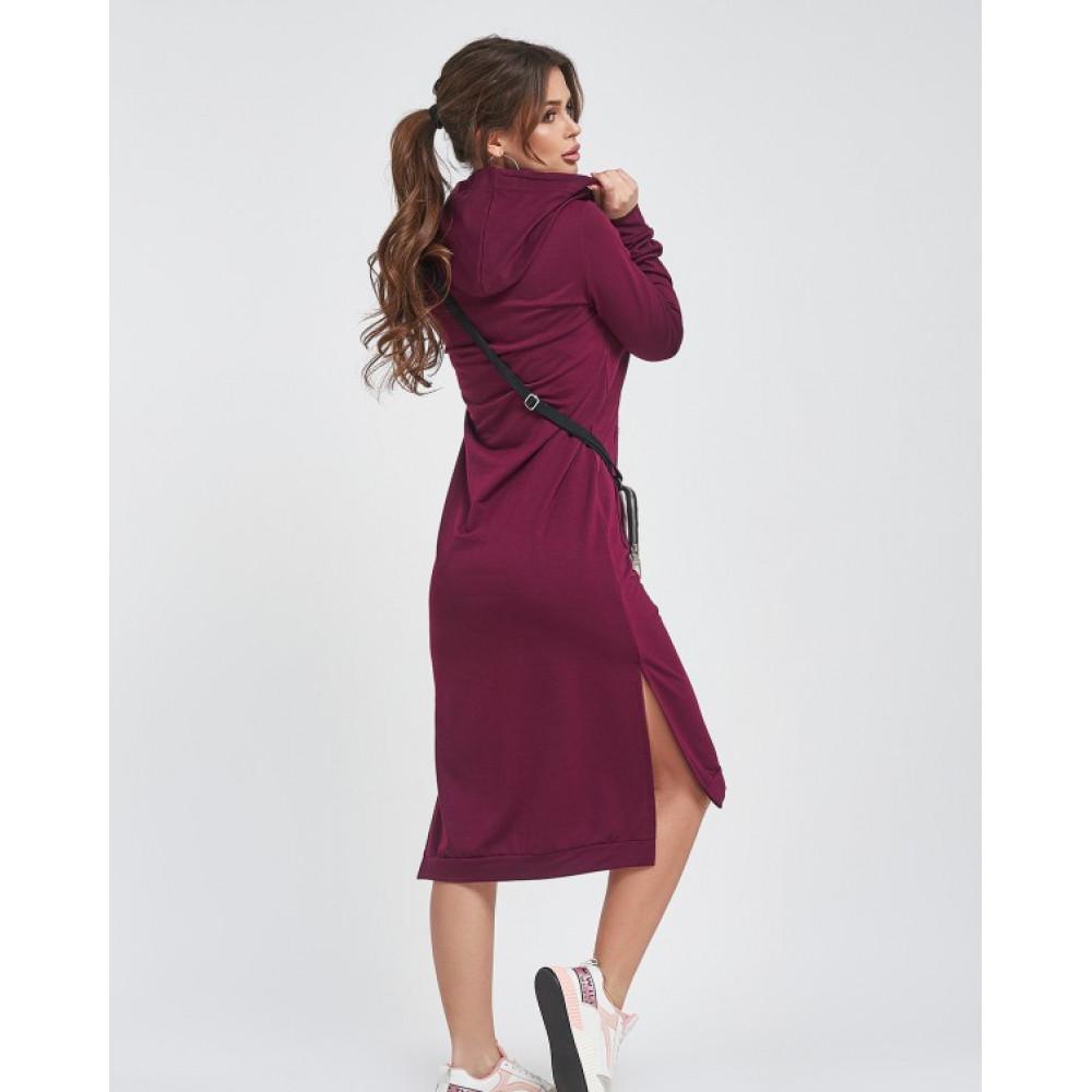 Бордовое платье с карманом-кенгуру фото 3