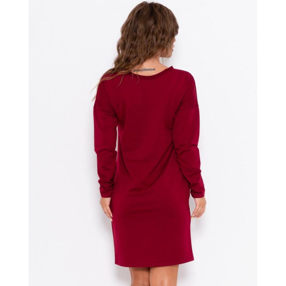 Бордовое практичное платье Анета фото 2