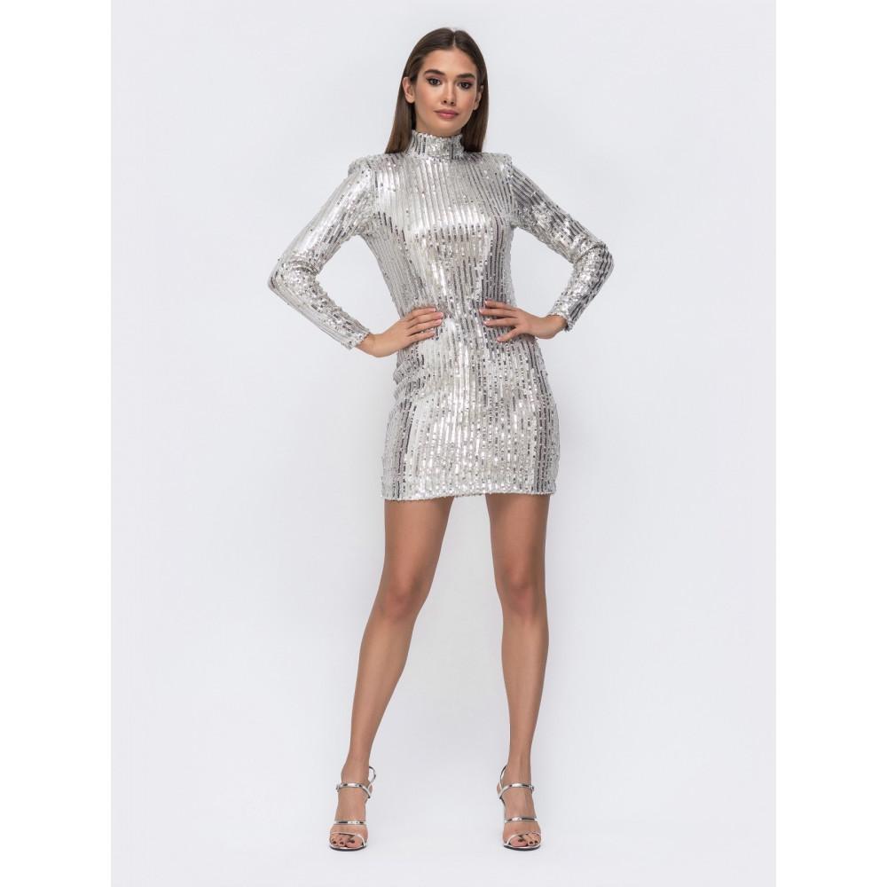 Блестящее серебряное платье-мини с открытой спиной фото 1