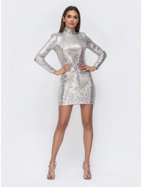 Блестящее серебряное платье-мини с открытой спиной
