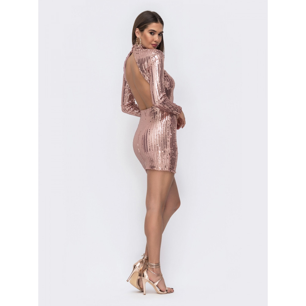 Блестящее платье-мини из пайеток с открытой спиной фото 1