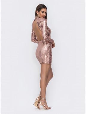Блестящее платье-мини из пайеток с открытой спиной