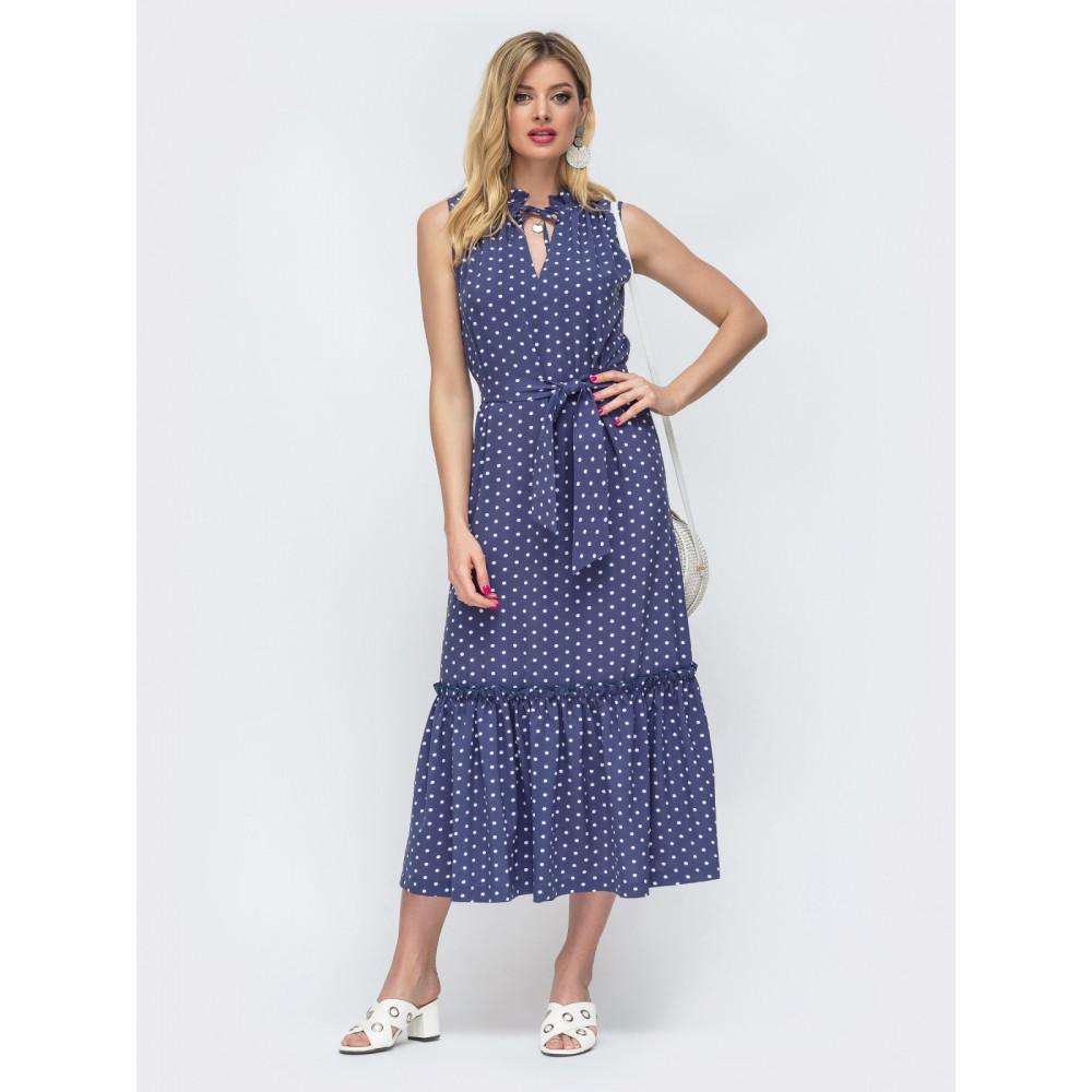 Длинное платье без рукавов из нежного софта фото 1