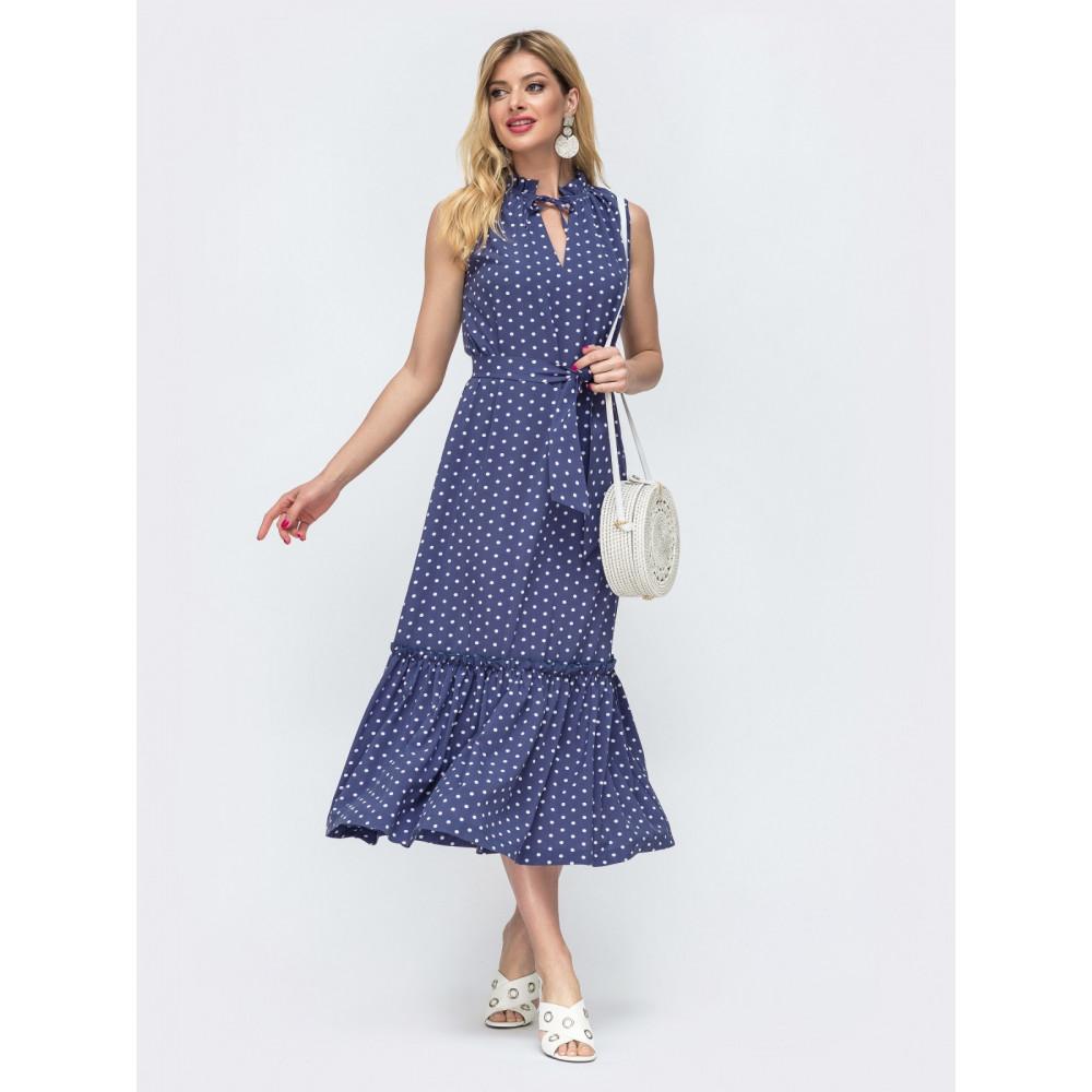 Длинное платье без рукавов из нежного софта фото 2