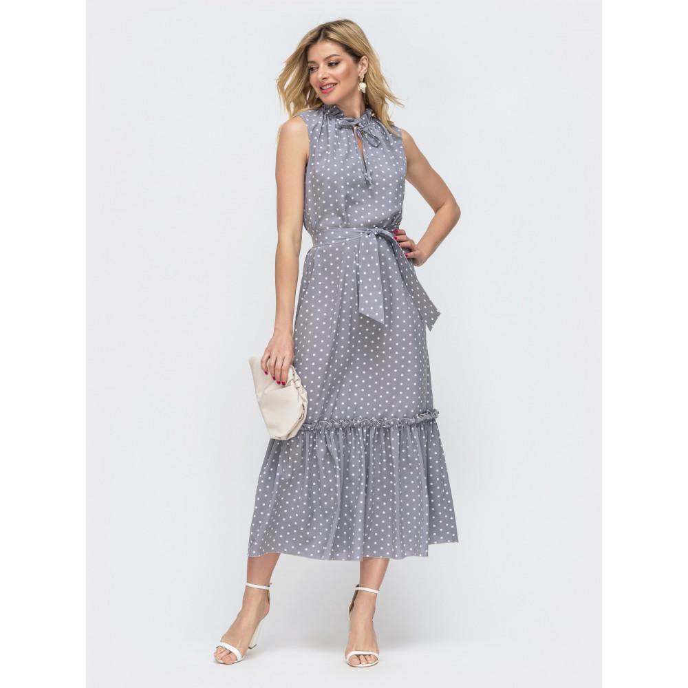 Длинное серое платье без рукавов из нежного софта фото 1