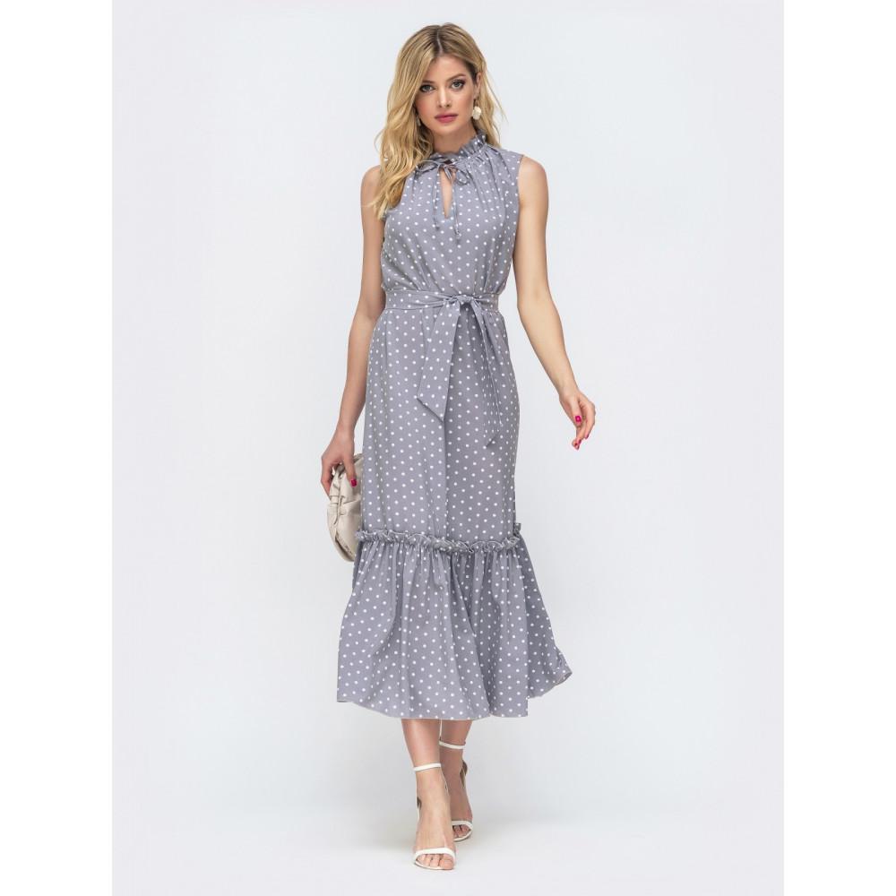 Длинное серое платье без рукавов из нежного софта фото 2