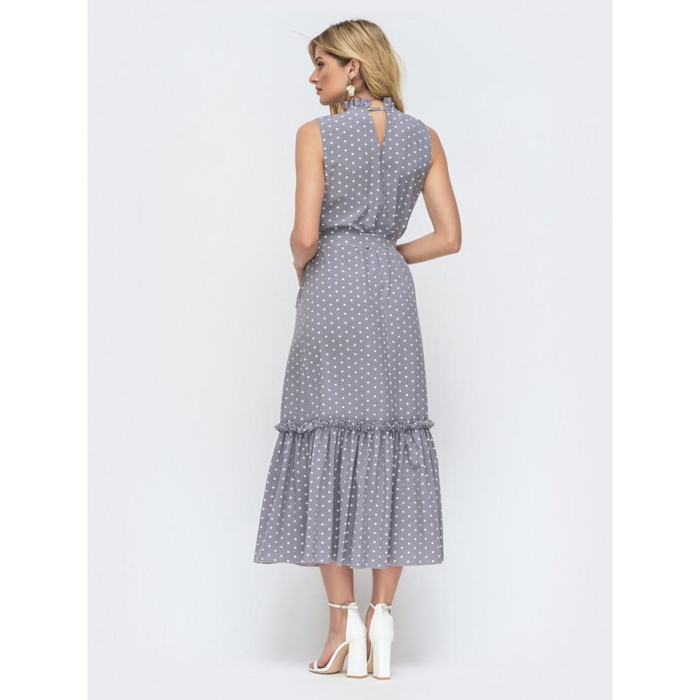 Длинное серое платье без рукавов из нежного софта фото 3