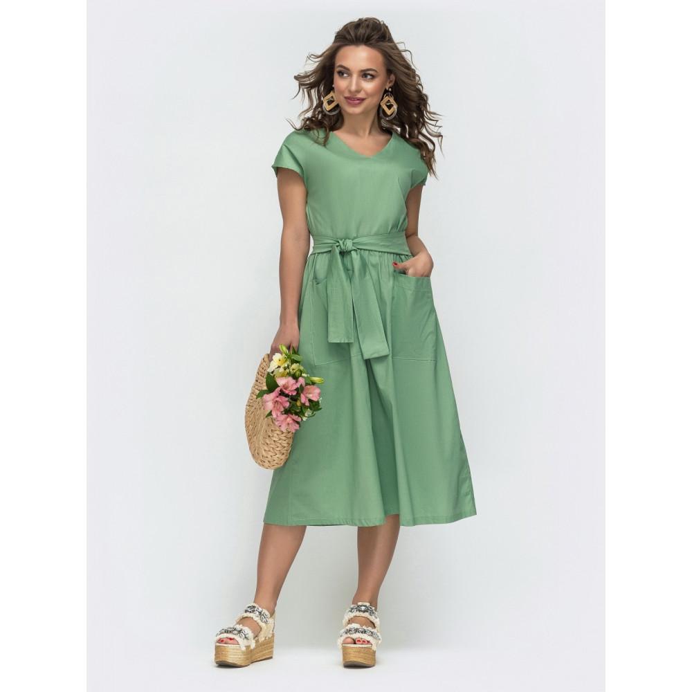 Зеленое романтичное платье с цельнокроеным рукавом фото 1