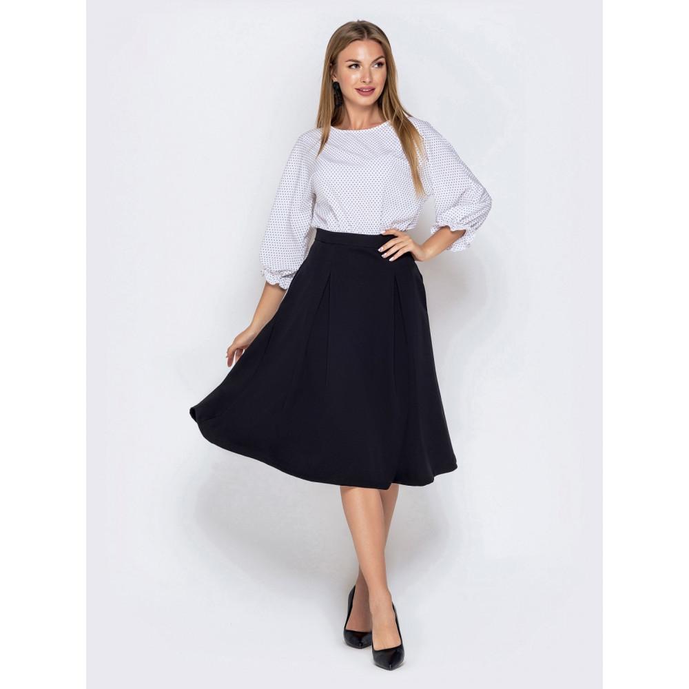 Комбинированное черно-белое платье с расклешенной юбкой фото 1