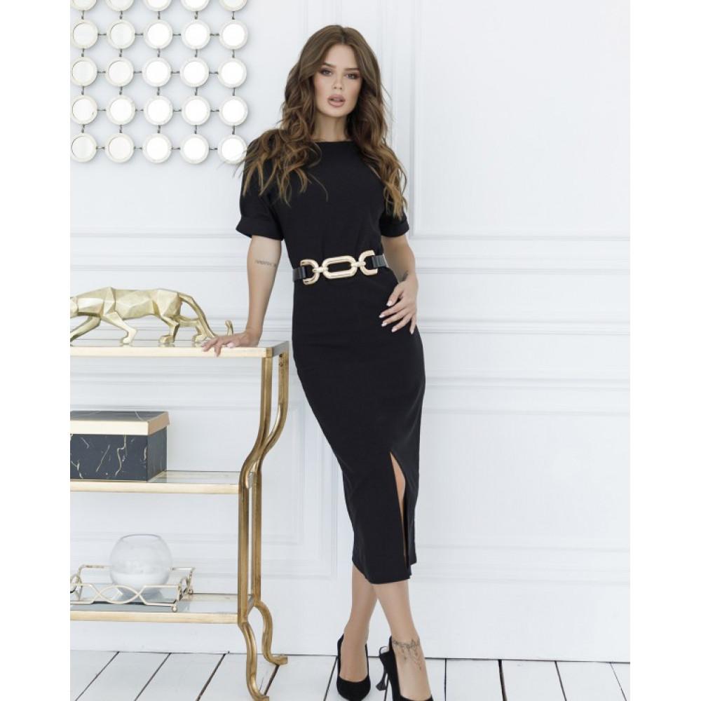 Классическое черное платье с разрезом фото 1