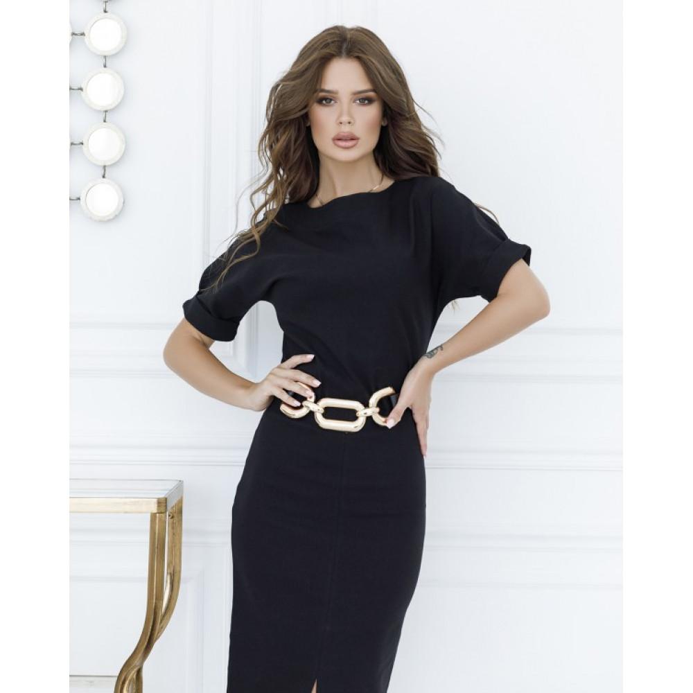 Классическое черное платье с разрезом фото 2