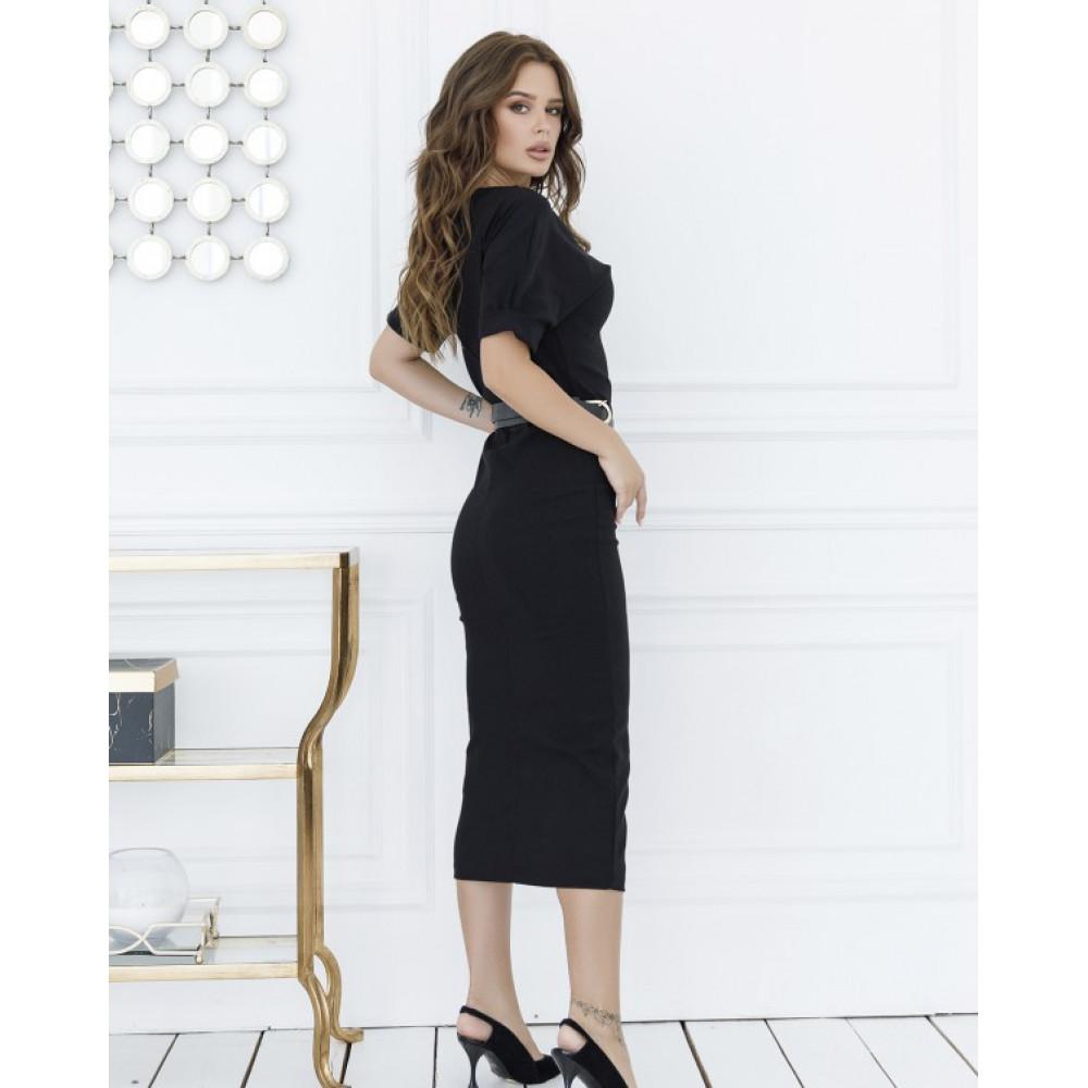 Классическое черное платье с разрезом фото 4