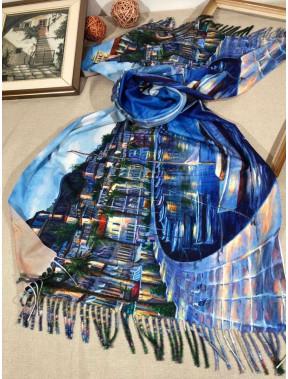 Синий палантин с рисунком Прогулка
