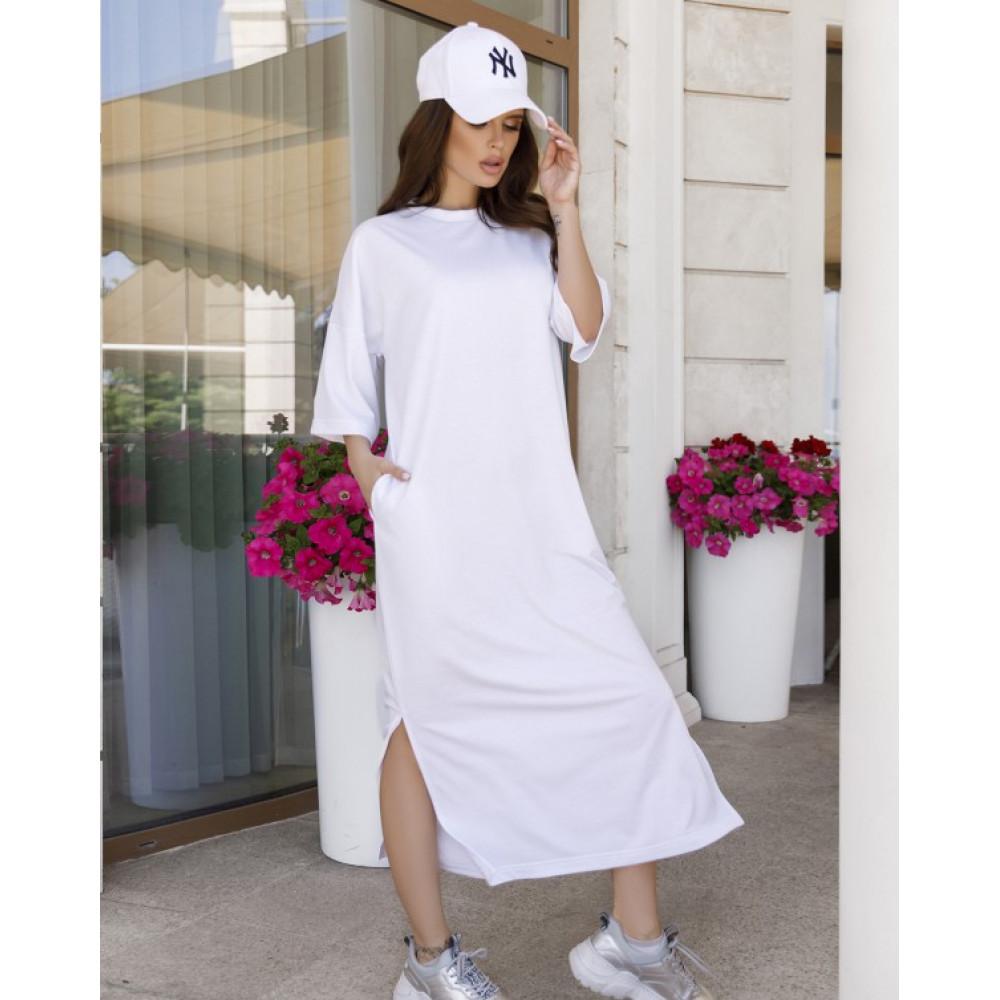 Белое прямое трикотажное платье Трейси фото 1