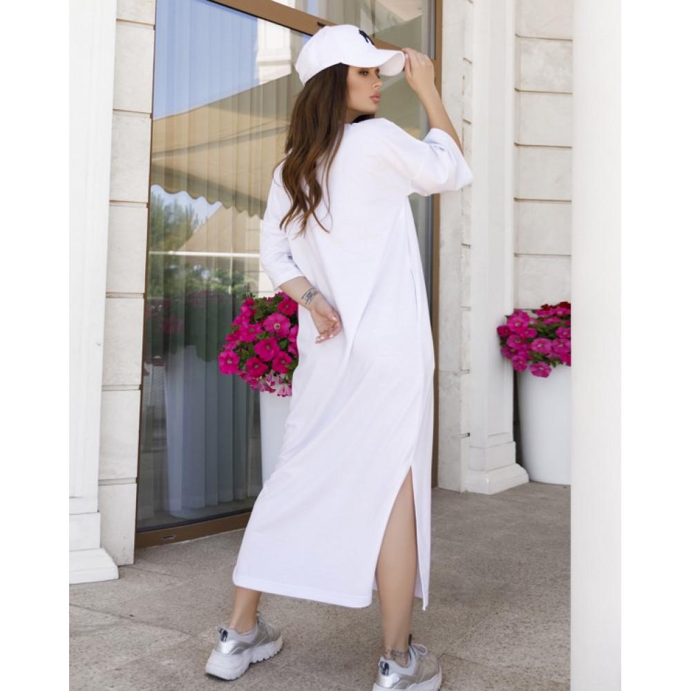 Белое прямое трикотажное платье Трейси фото 2