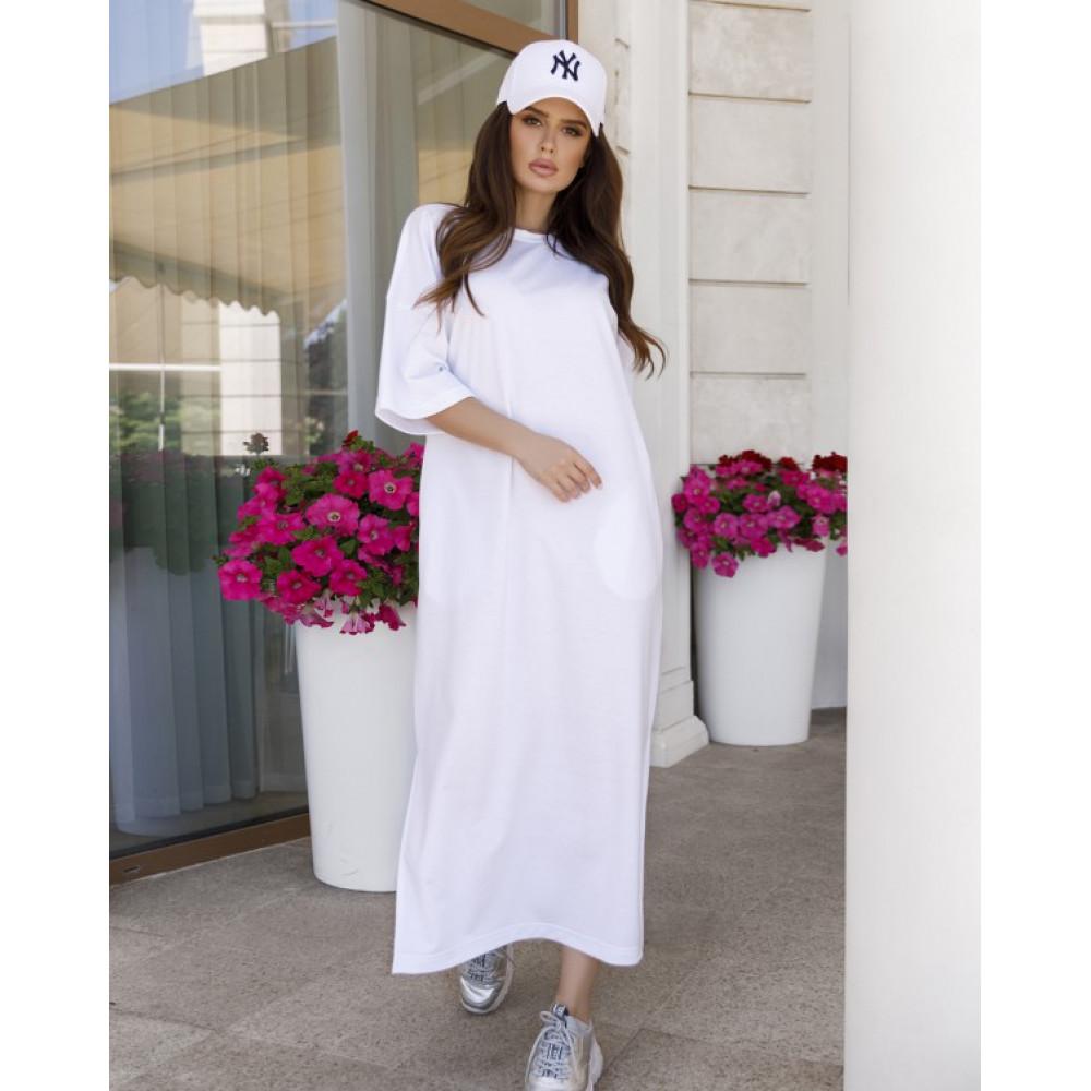 Белое прямое трикотажное платье Трейси фото 3