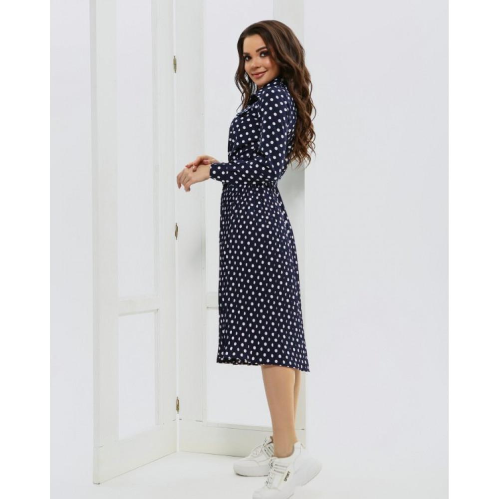 Женственное синее платье в горошек фото 3