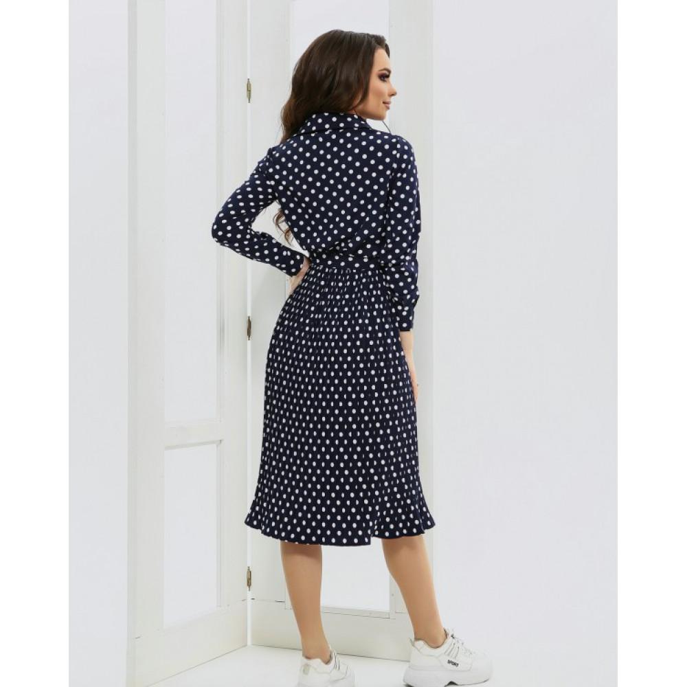 Женственное синее платье в горошек фото 4