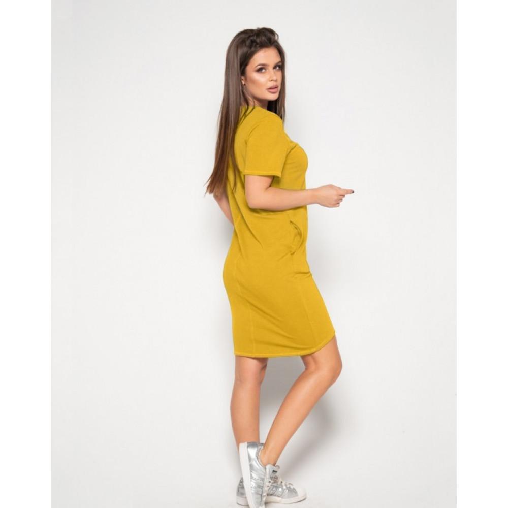 Горчичное платье-футболка из трикотажа фото 2